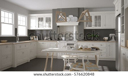 Scandinavian classic white kitchen with wooden details, minimalistic interior design, 3d illustration #576620848