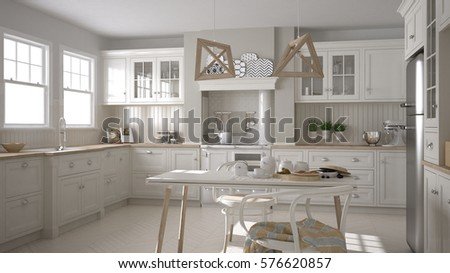 Scandinavian classic white kitchen with wooden details, minimalistic interior design, 3d illustration #576620857