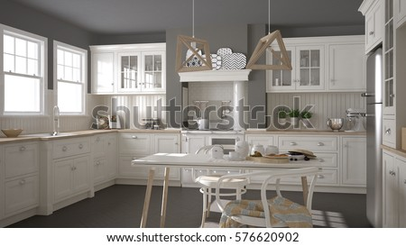 Scandinavian classic white kitchen with wooden details, minimalistic interior design, 3d illustration #576620902