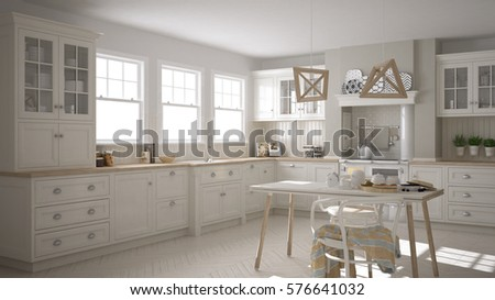Scandinavian classic white kitchen with wooden details, minimalistic interior design, 3d illustration #576641032