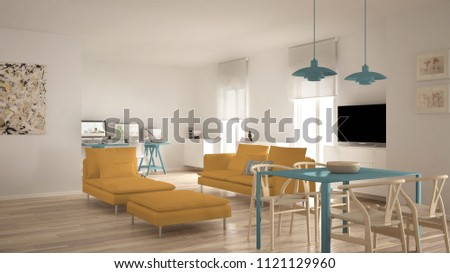 Scandinavian contemporary living room open space with dining table, sofa and chaise longue, office, home workplace with computers, minimal modern blue and yellow interior design, 3d illustration #1121129960
