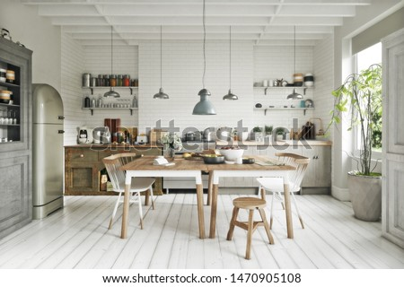 Scandinavian contemporary style kitchen with eating area and simplistic accents. 3d rendering Photo stock ©