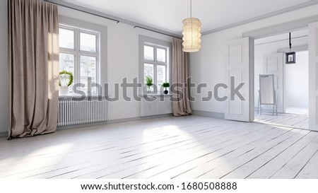 Scandinavian empty apartment interior without furniture with large wall and landscape in window. Home nordic interior. 3D illustration. Сток-фото ©