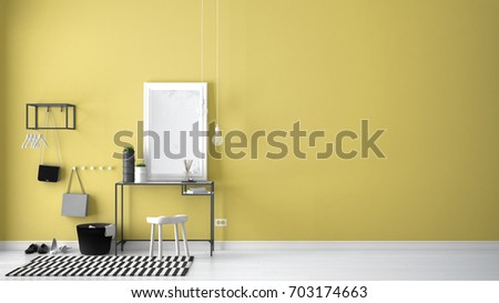 Scandinavian entrance lobby hall with table, stool, carpet and mirror, minimalist white and yellow interior design, 3d illustration #703174663