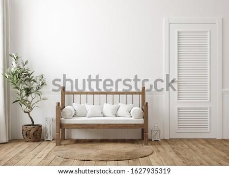 Scandinavian farmhouse hallway interior, wall mockup, 3d render