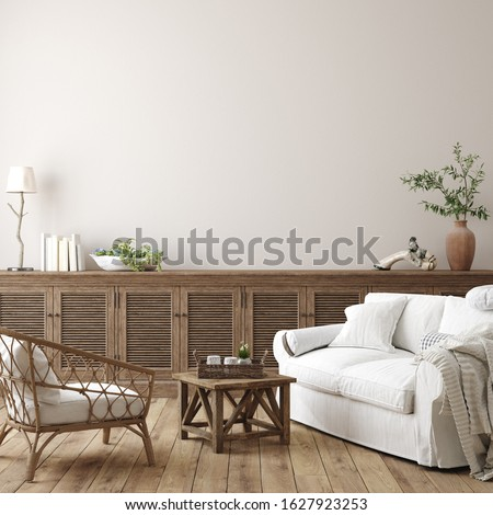 Scandinavian farmhouse living room interior, wall mockup, 3d render stock photo