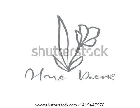 scandinavian floral Logo. Hand drawn icon flower organic cosmetic, florist wedding, home decor. Home Decor text