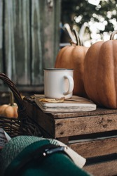 Scandinavian hygge concept. Morning concept. Cozy autumn scene with pumpkins and apples. Flat lay. Fall styled composition. Autumn breakfast still life.
