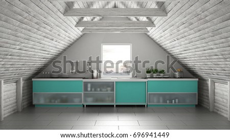 Scandinavian industrial kitchen loft mezzanine roof architecture white and turquoise interior design 3d & Scandinavian industrial kitchen loft mezzanine roof architecture ...