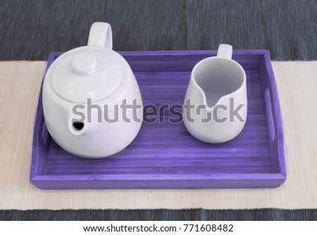 Scandinavian kitchen design. tableware in colors of the year 2018 ultra violet #771608482