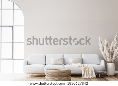 Scandinavian living room design with rattan table, pampas and white sofa on beige background. Simple interior design, 3d render, 3d illustration