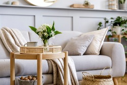Scandinavian living room interior with design grey sofa, wooden coffee table, plants, shelf, spring flowers in vase, decoration and elegant personal accessories at home decor.