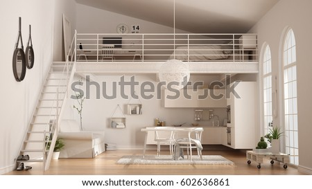 Scandinavian minimalist loft, one-room apartment with white kitchen, living and bedroom, classic interior design, 3d illustration