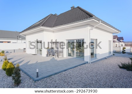 Scandinavian modern white house\'s outside view