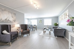 Scandinavian open plan living area with armchairs and couch and neutral decoration