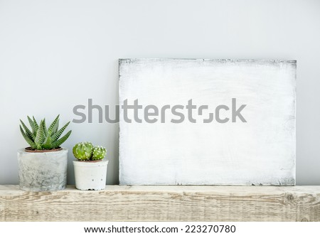 scandinavian or american style room interior with painted frame background for text