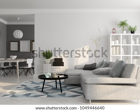 Scandinavian style interior design 3D rendering #1049446640