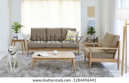 Scandinavian style livingroom with fabric sofa, sofa table.  #1284496441