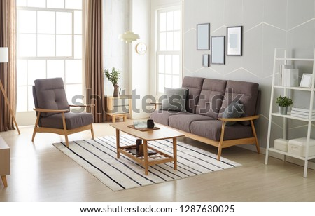 Scandinavian style livingroom with fabric sofa, sofa table.  #1287630025