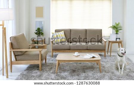 Scandinavian style livingroom with fabric sofa, sofa table.  #1287630088