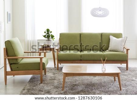 Scandinavian style livingroom with fabric sofa, sofa table.  #1287630106