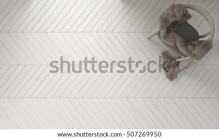 Scandinavian white background, wooden armchair with fur on herringbone natural parquet flooring, top view, 3d illustration
