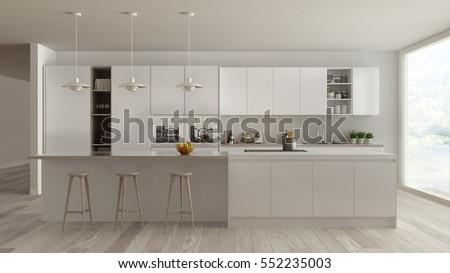 Scandinavian white kitchen with wooden and white details, minimalistic interior design, 3d illustration