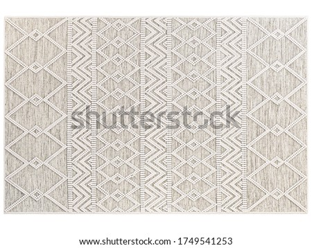 Scandinavian wool dot carpet. Rug with cotton base and wool dots on white background. Geometric pattern. Mid-century, Farmhouse, Ethnic, Chalet, Scandinavian interior. 3d render