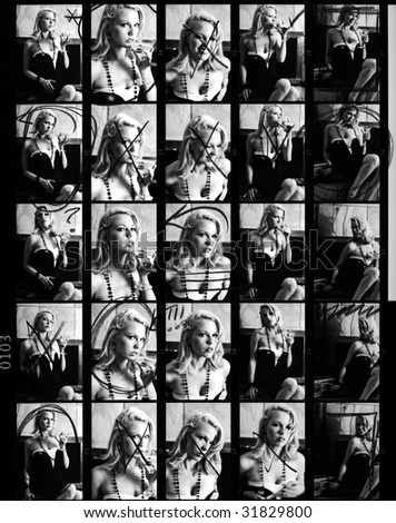Scanned 35 mm Film Contact Sheet from Retro Fashion Glamour Shoot.  Annotated, Scratchy, Dusty, Soft-Focus; The Real Thing!  Model-Released.