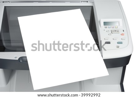 scanned sheet of paper over scanner xerox printer isolated over white