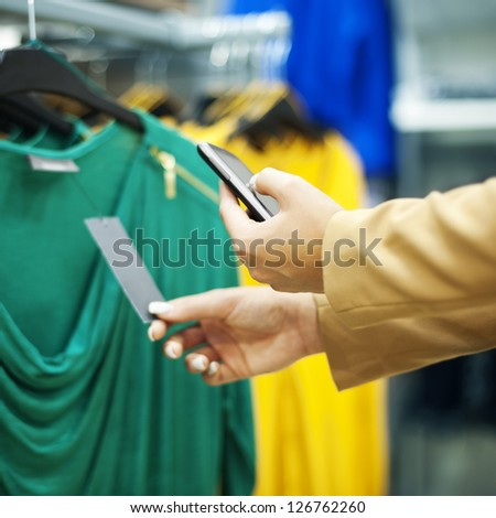 Scanning a QR code in shopping mall