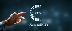 Scanning Files Searching Processing Antivirus Concept 3D illustration