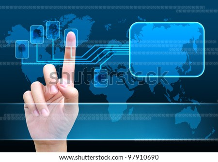 scanning of a finger on a touch screen interface