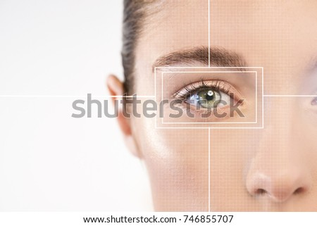 Scanning of the eye retina for the recognition of people through biometrics and the advancement of futuristic technology. Concept of: eyes, future, technology. #746855707