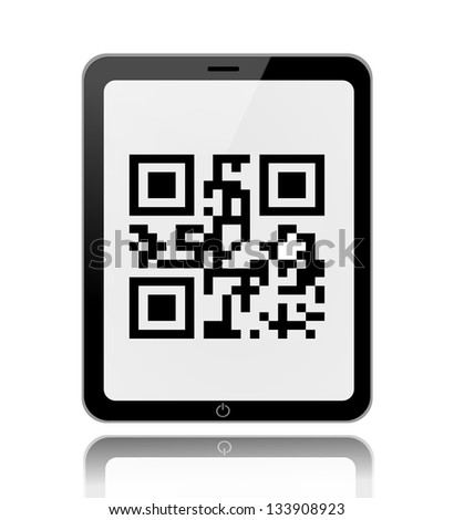 Scanning qr code on a tablet illustration