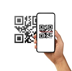 Scanning QR code with mobile smart phone isolated on white background.