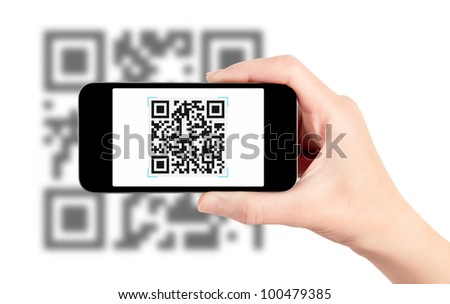 Scanning quick response code pattern with mobile smartphone. Isolated on white. ストックフォト ©