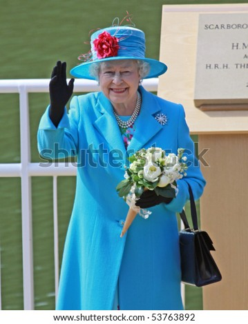 SCARBOROUGH, ENGLAND - MAY 20: Her Royal Highness Queen Elizabeth II at opening of Royal Open Air Theater, Scarborough, North Yorkshire, England, 20th May 2010. - stock photo