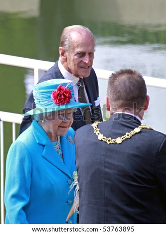 SCARBOROUGH, ENGLAND - MAY 20: Her Royal Highness Queen Elizabeth II, Prince Phillip Duke of Edinburgh and local mayor Bill Chatt at opening of Royal Open Air Theater, Scarborough, North Yorkshire, England, 20th May 2010.