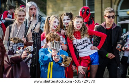 Scarborough, UK - April 08, 2017: Group shot of cosplayers entering the cosplay competition at Sci-Fi Scarborough. #635729390