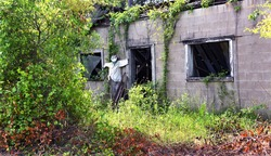 Scarecrow guards doorway of abandoned building used for a haunted house during the Halloween season.  vines and weeds