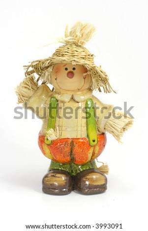 Scarecrow Halloween decoration on white background