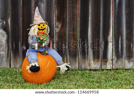 Scarecrow sitting on the pumpkin