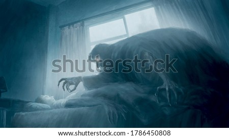 Scared boy seeing and facing horror crawling ghost above him at dark and quiet night, creepy nightmare concept. Digital painting in my imagination, illustration art.  Foto stock ©