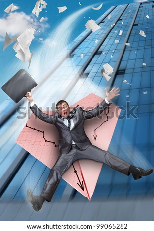 Scared businessman on paper airplane falling from business building