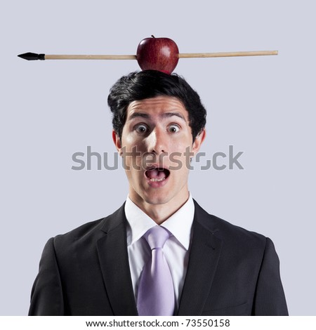 Scared businessman with a apple and arrow over his head