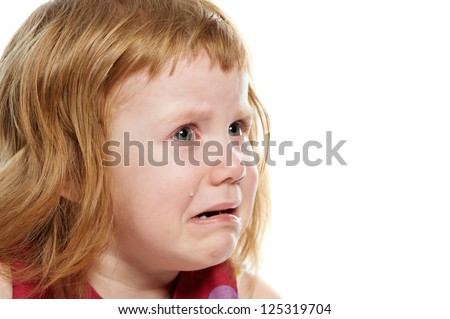 Scared crying little girl with tears on her cheeks