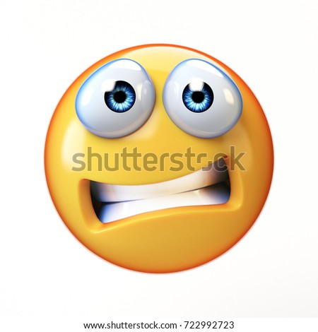 Scared emoji isolated on white background, emoticon in fear 3d rendering