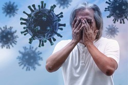 Scared emotion senior man covers his nose and face with hands, fear of breathing coronavirus into the nose, outbreak and global epidemic virus, 3D virus illustration