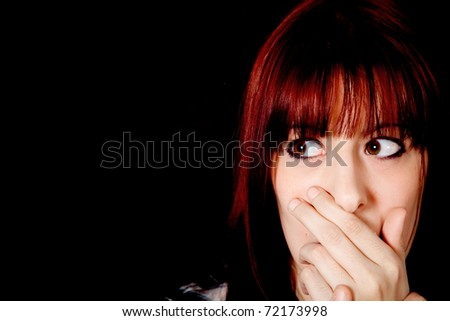 Scared girl with funny expression